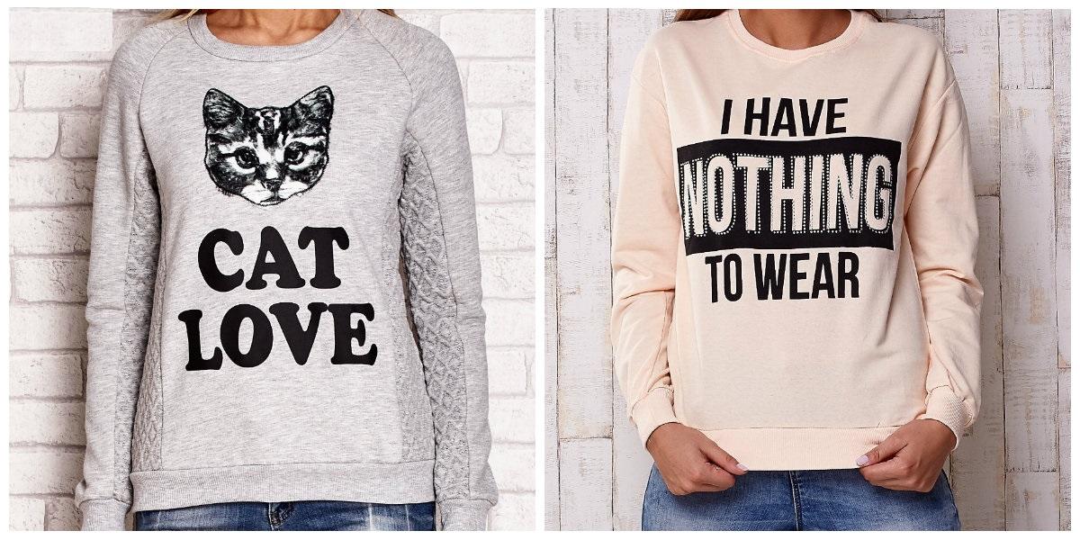 bluzy damskie z napisami