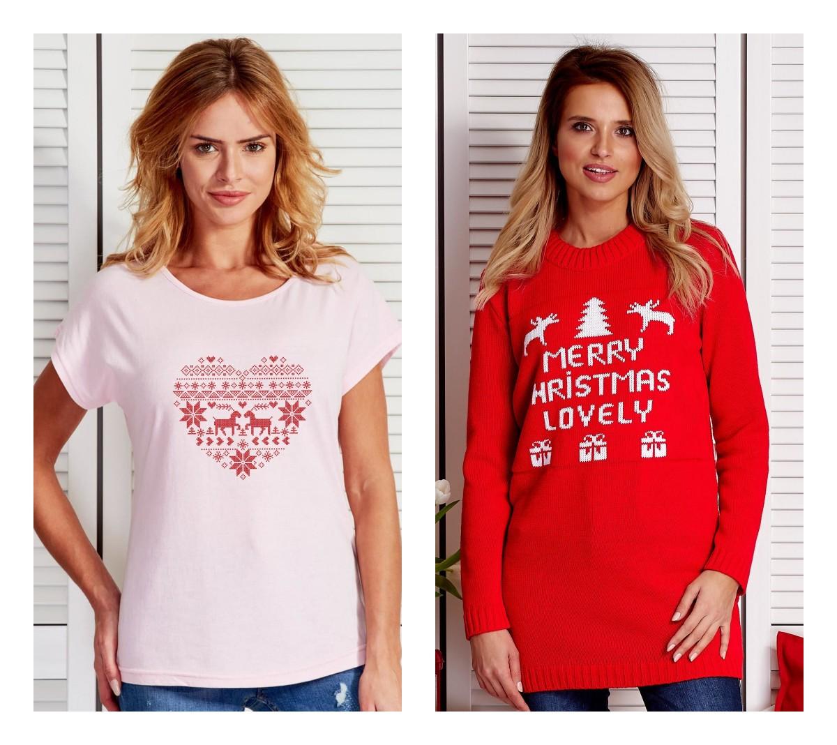 ubrania ze świątecznymi motywami