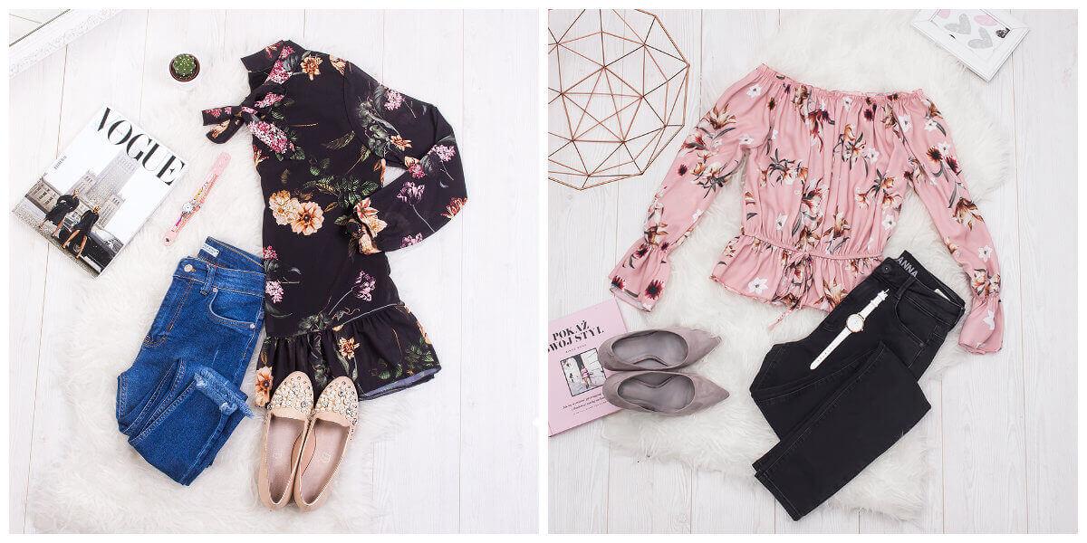 bluzki w kwiaty plus jeansy