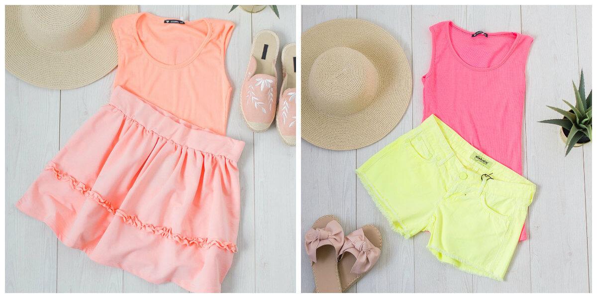 ubrania w neonowych kolorach