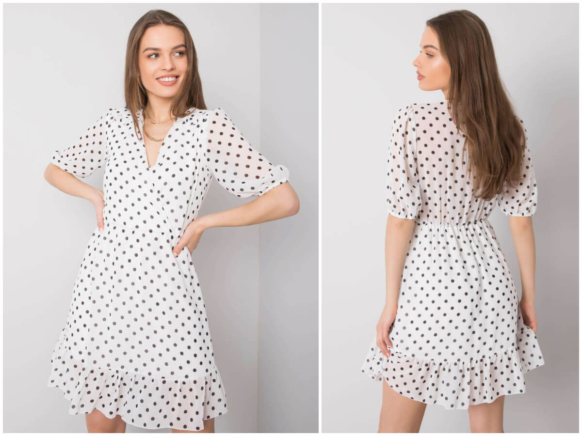 biała sukienka w grochy w sklepie ebutik.pl