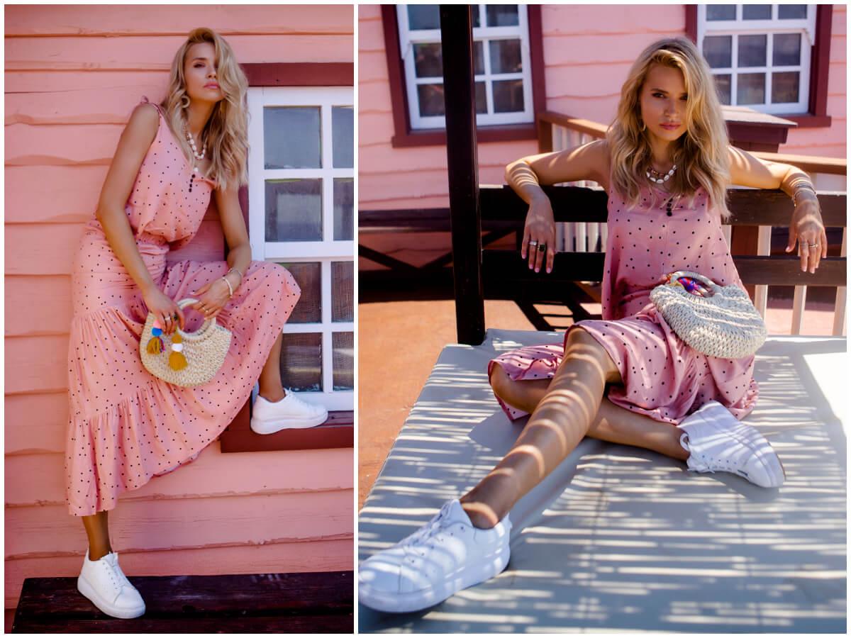 sukienka w grochy w pastelowym kolorze ze sklepu ebutik.pl