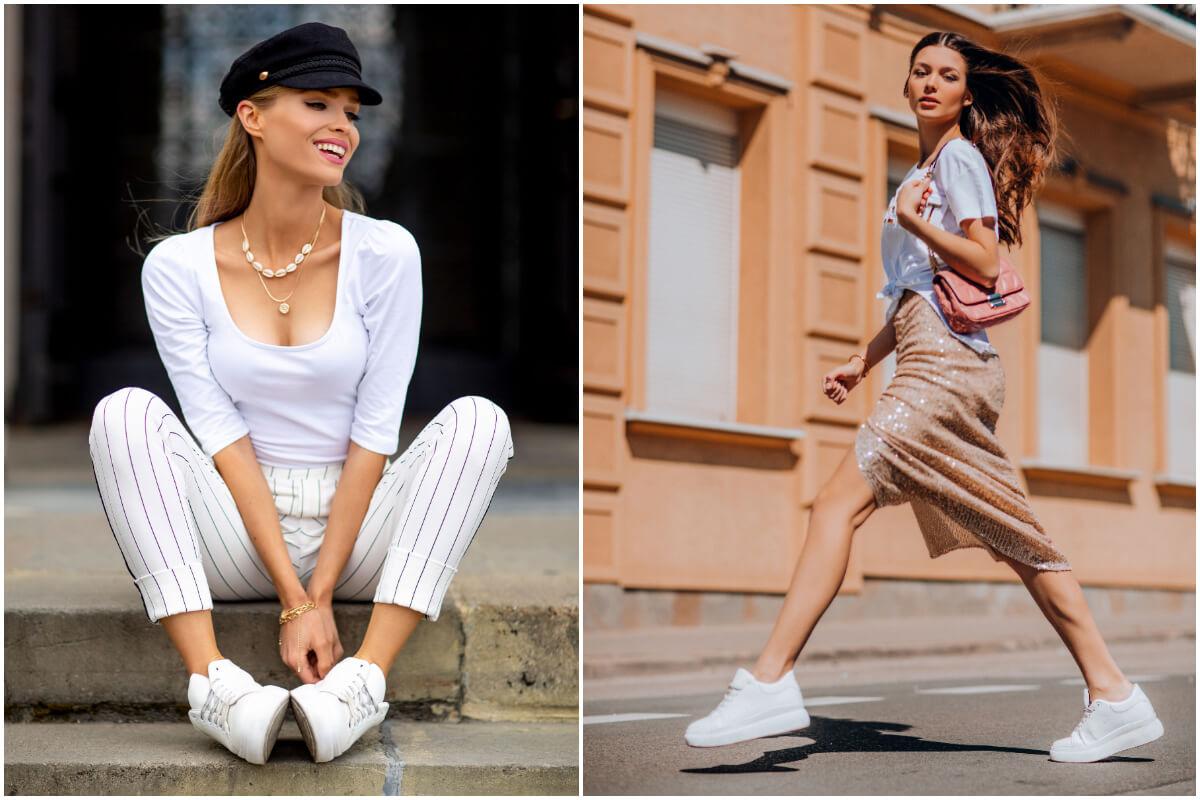 Modelki w białych butach sportowych prezentują stylizacje w stylu miejskim