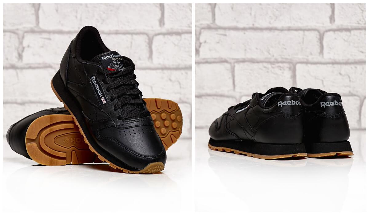 Damskie czarne buty sportowe Reebok Classic Leather