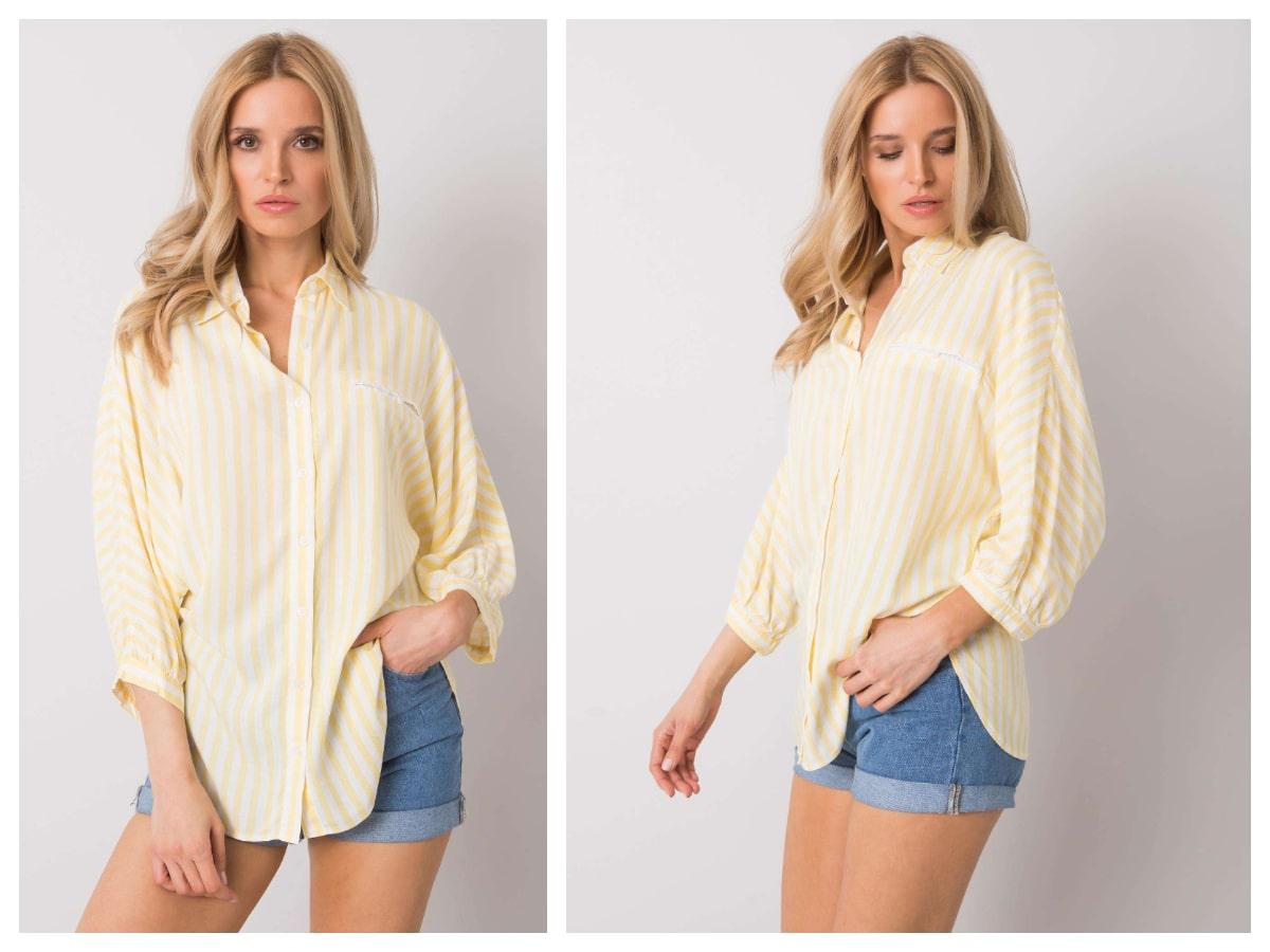 Modelka prezentuje luźną żółtą koszulę w paski