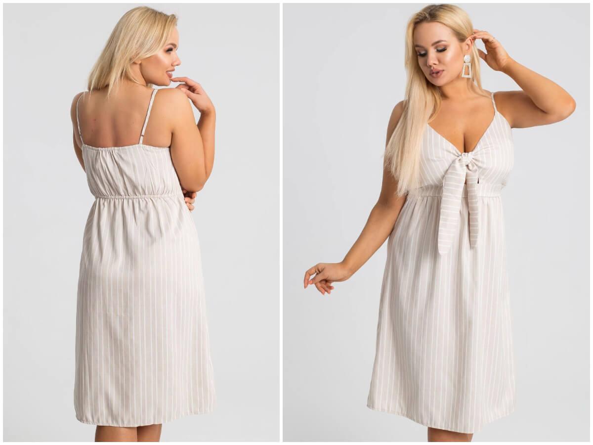 Sukienka plus size w paski na lato na modelce