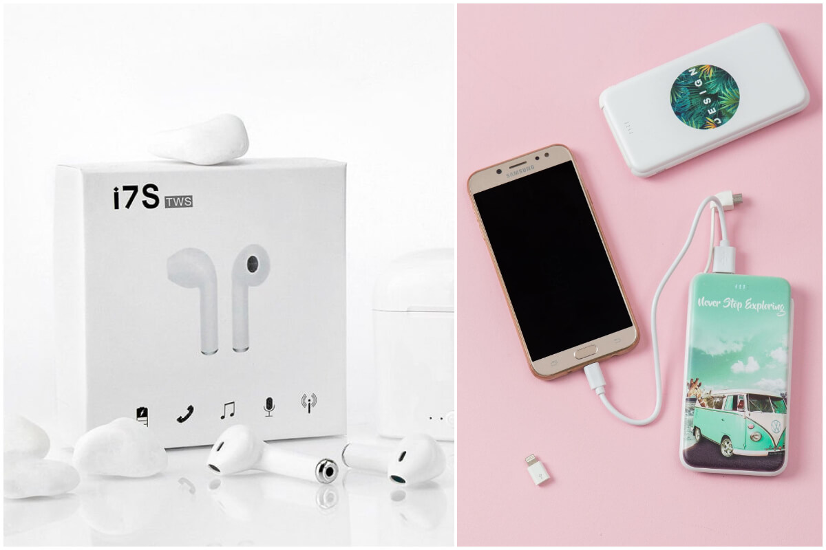 Białe słuchawki bezprzewodowe i powerbank z nadrukiem ze sklepu eButik.pl to prezenty na dzień dziecka dla nastolatka