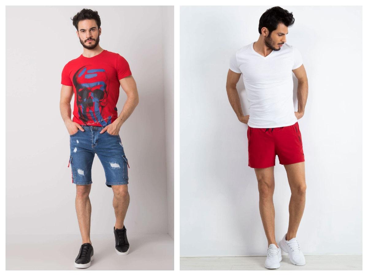 Dwóch modeli prezentuje modne spodenki męskie