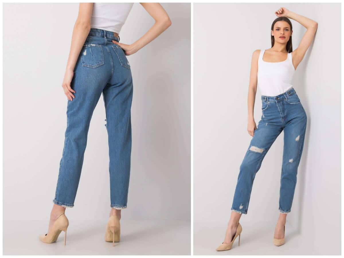Spodnie mom jeans z dziurami ze sklepu ebutik.pl