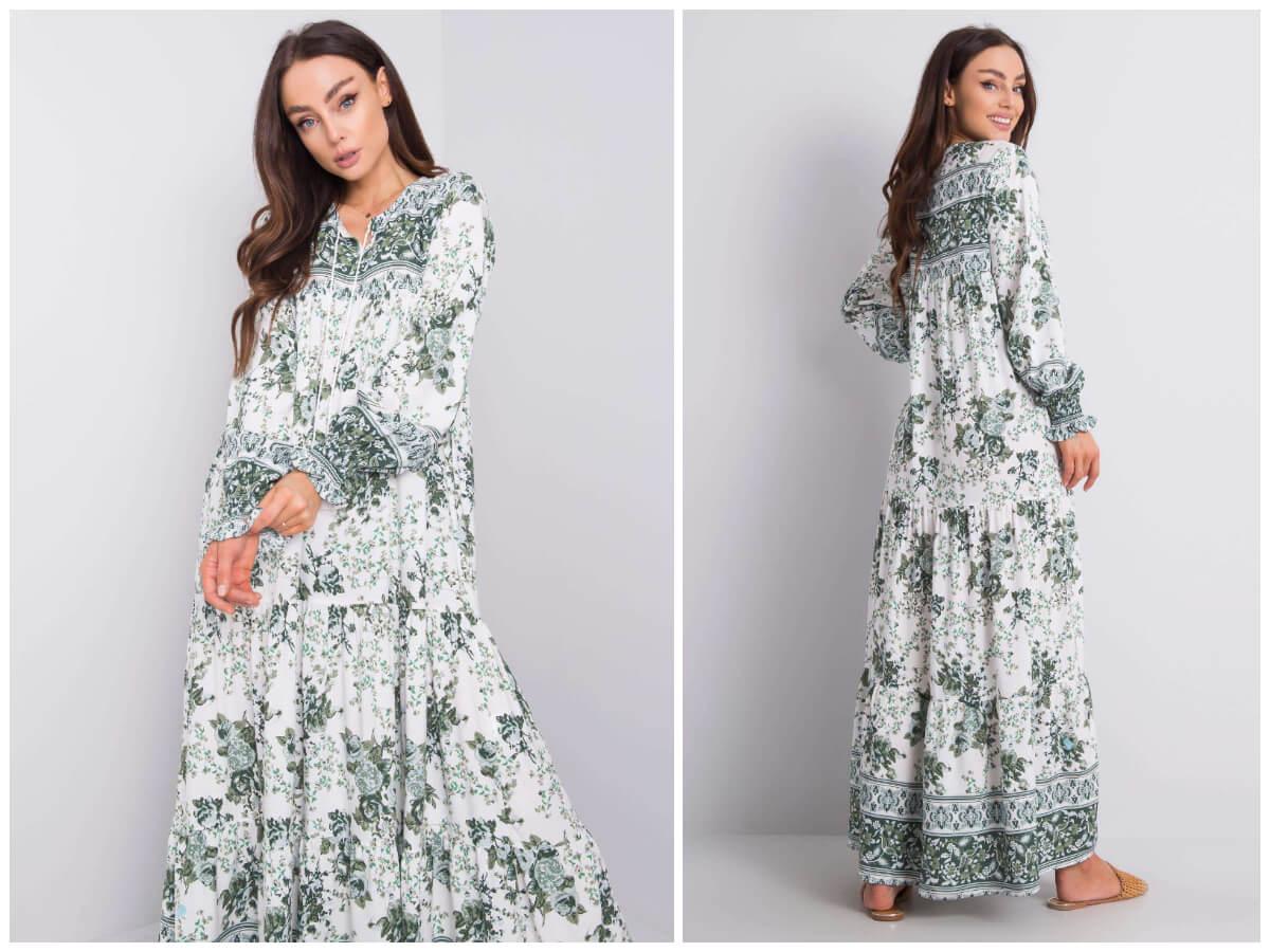 Modelka prezentuje długą wzorzystą sukienkę w stylu boho