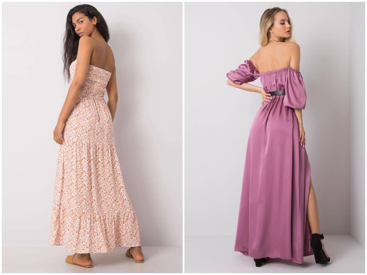 Dwie modelki prezentują sukienki bez pleców w wersji wieczorowej i na co dzień