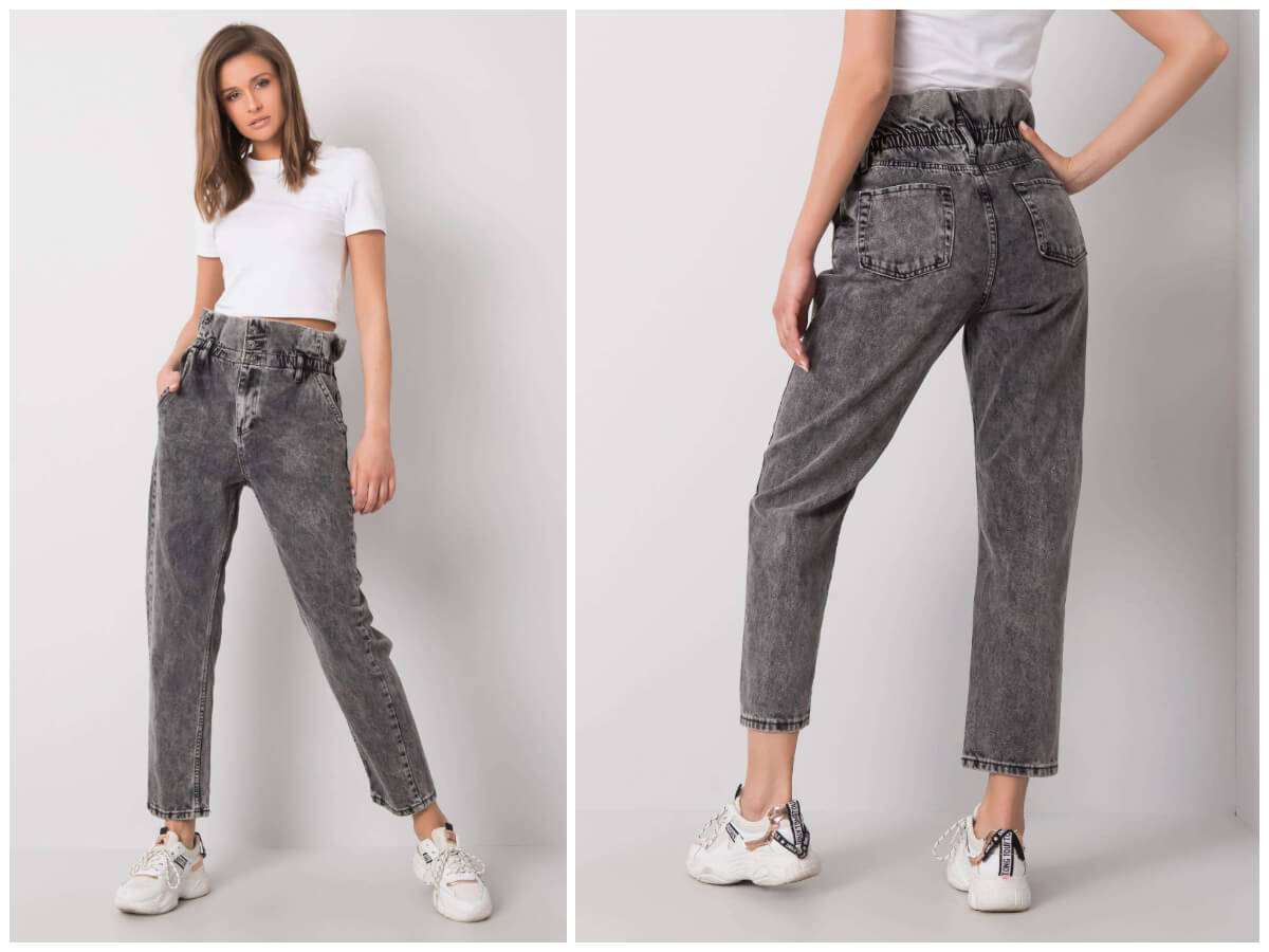 Szare spodnie mom jeans ze sklepu ebutik.pl