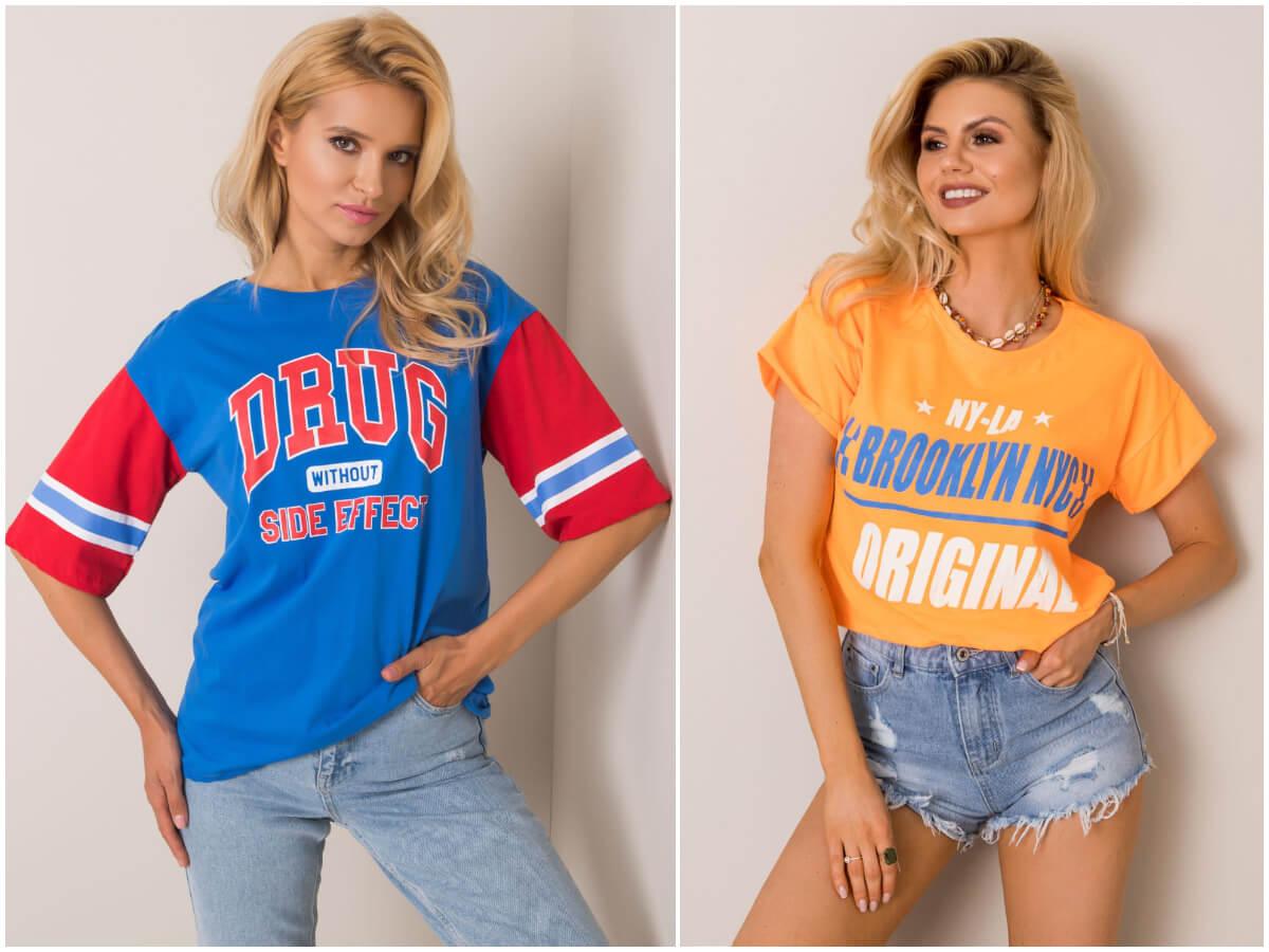 Damskie T-shirty z napisami w stylizacji z jeansami