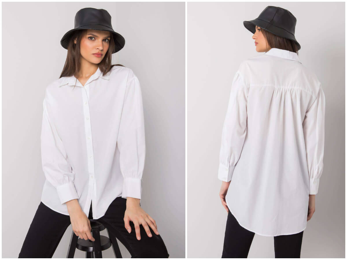 Biała koszula damska na modelce - sprawdź jak prasować koszulę, aby dobrze wyglądały