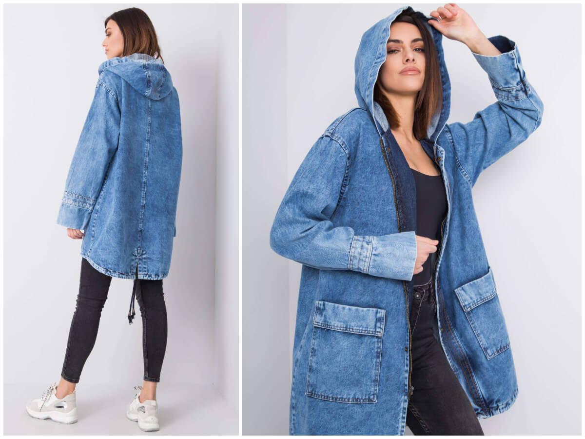 Modelka prezentuje kurtkę jeansową z kapturem