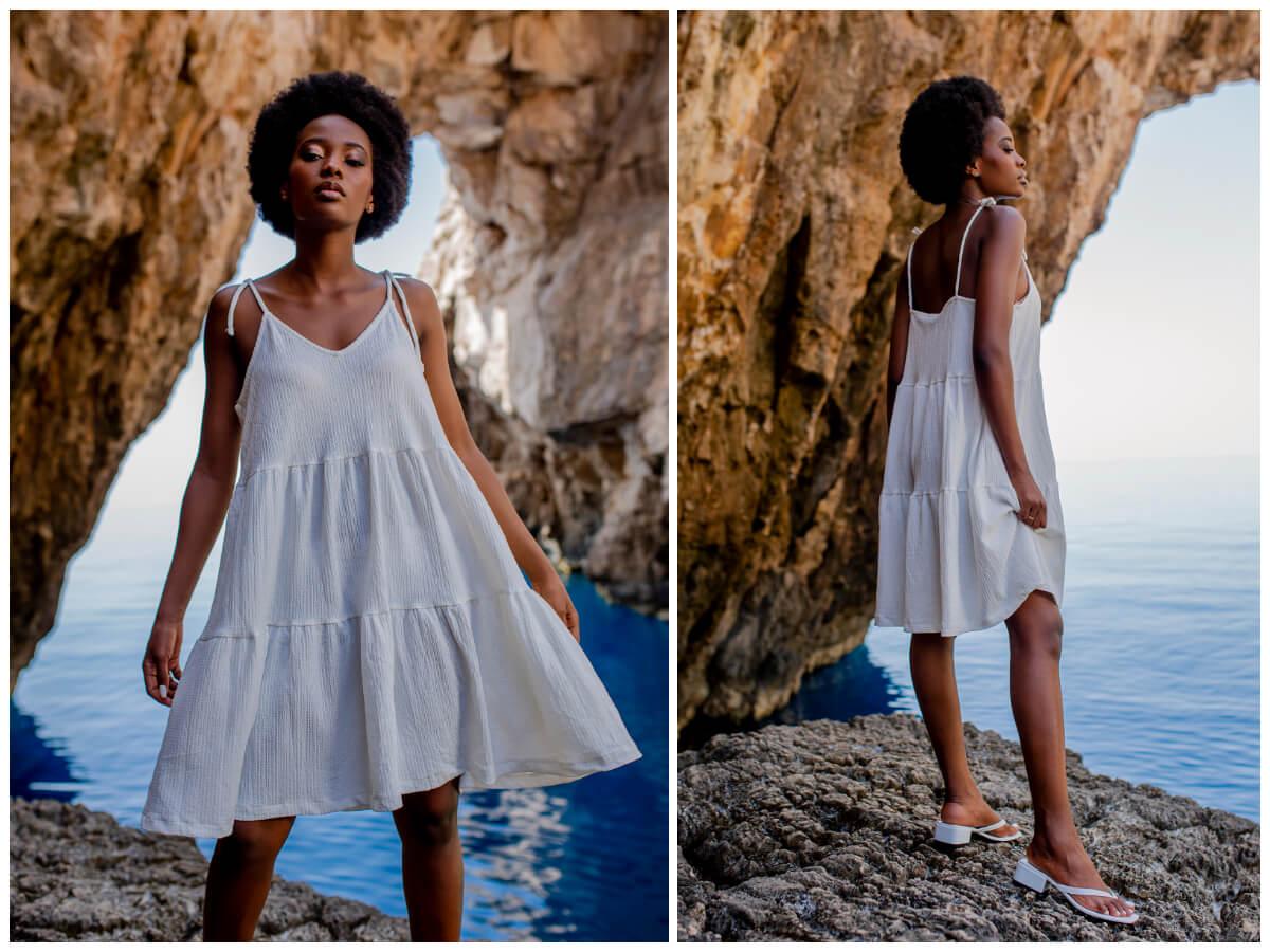 Biała mini sukienka na ramiączkach w stylu oversize