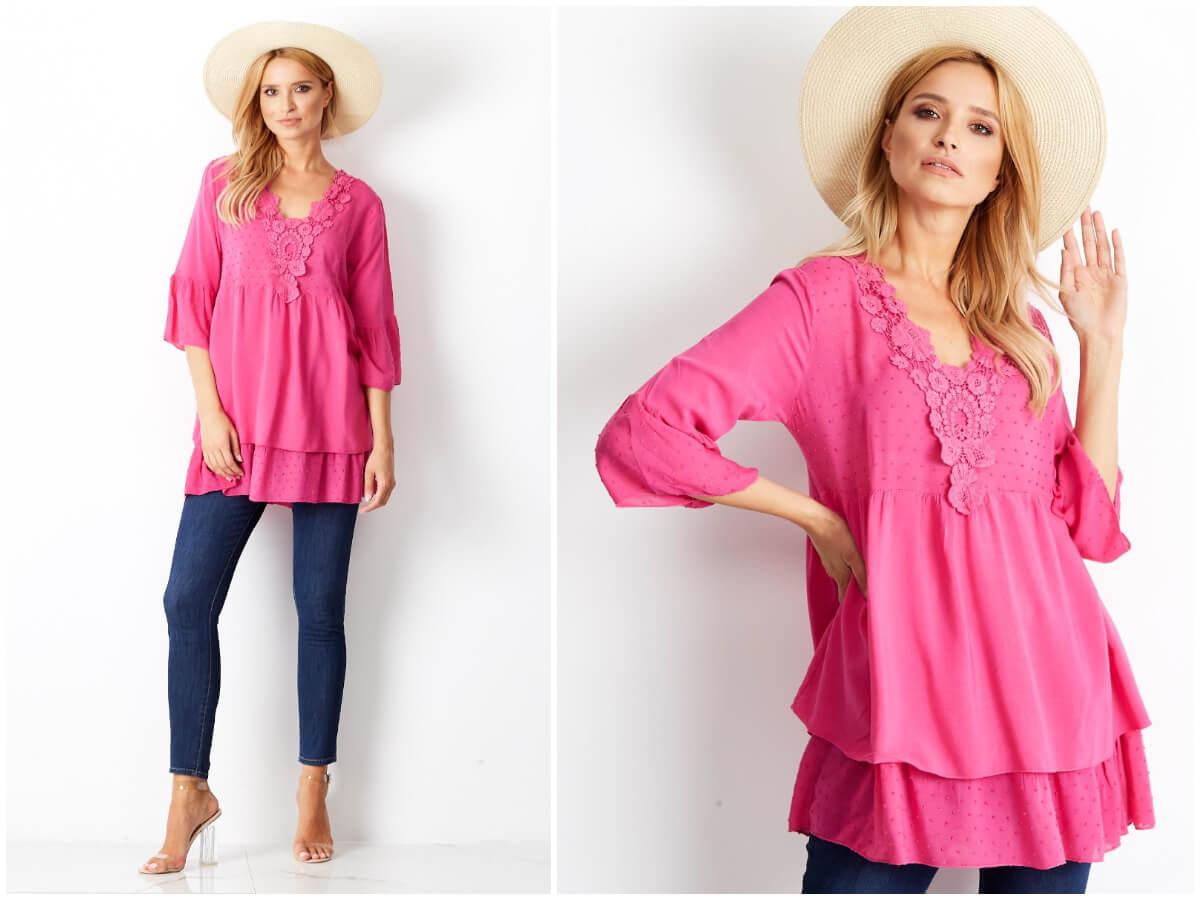 Różowa tunika damska boho na modelce w stylizacji na co dzień