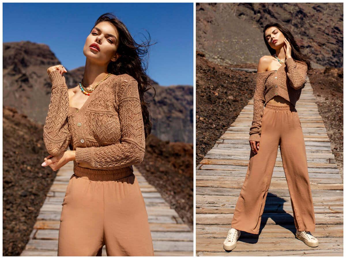 Beżowy ażurowy sweter damski