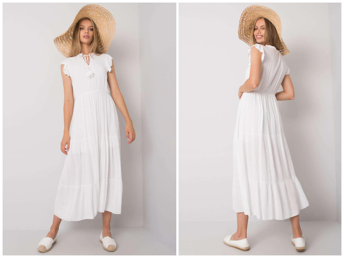 Biała sukienka midi z falbanką i krótkim rękawem