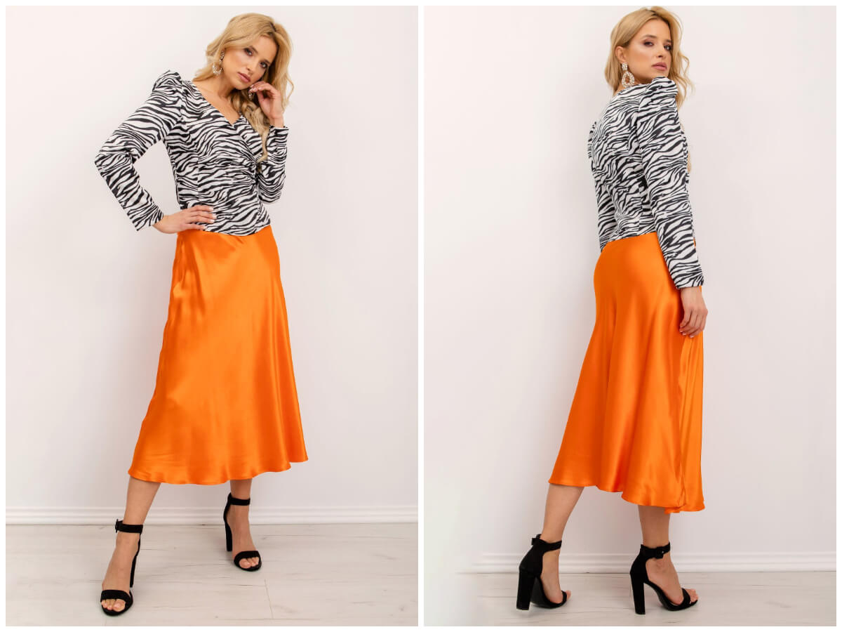 Pomarańczowa satynowa spódnica midi damska