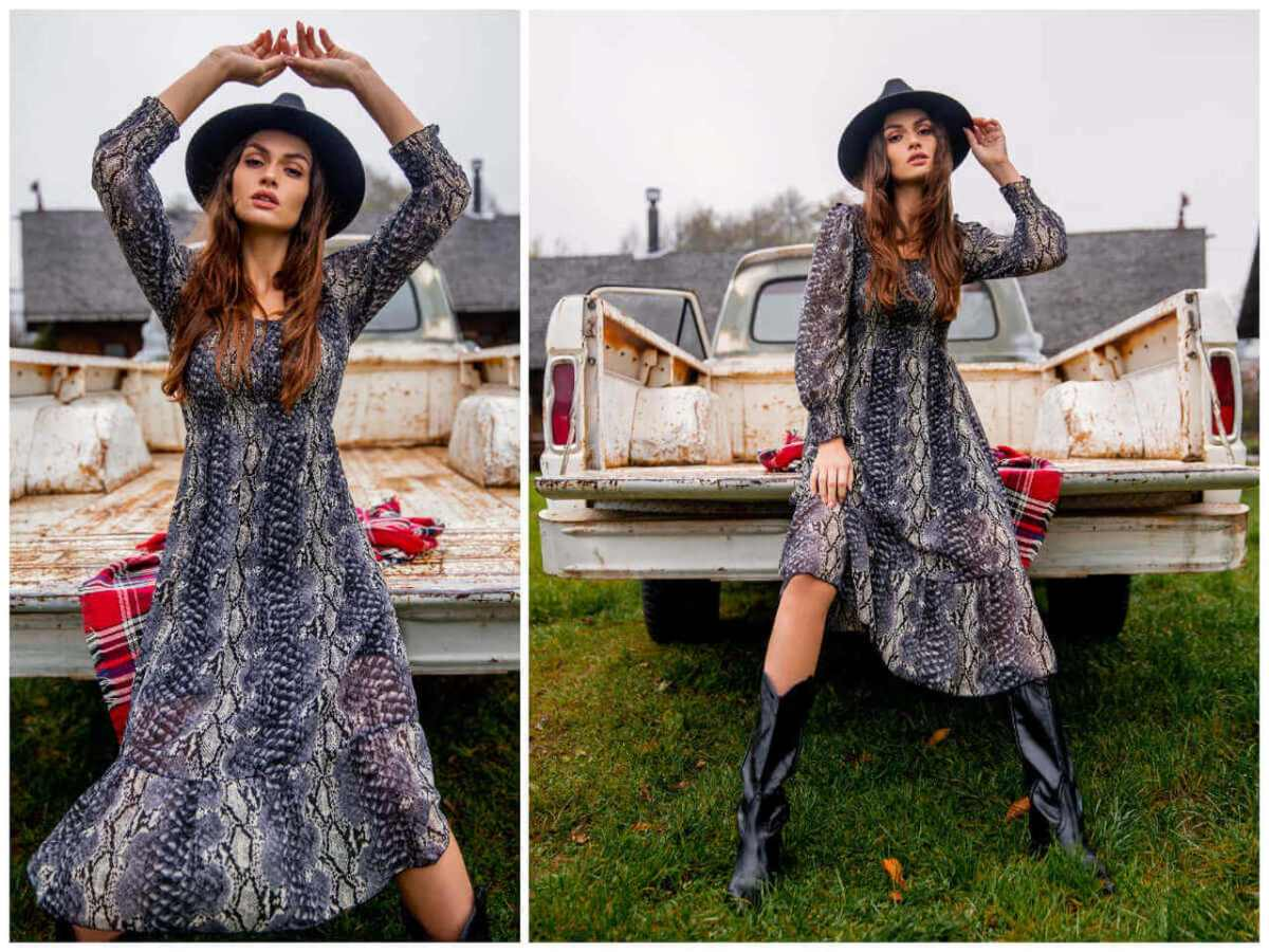Midi sukienka damska w wężowy wzór na jesień