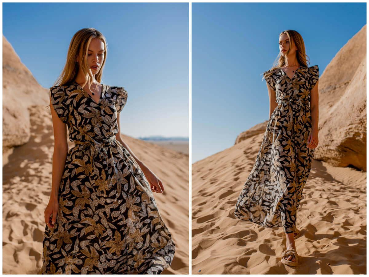 Sukienka maxi damska z paskiem w pasie i ozdobnymi rękawami