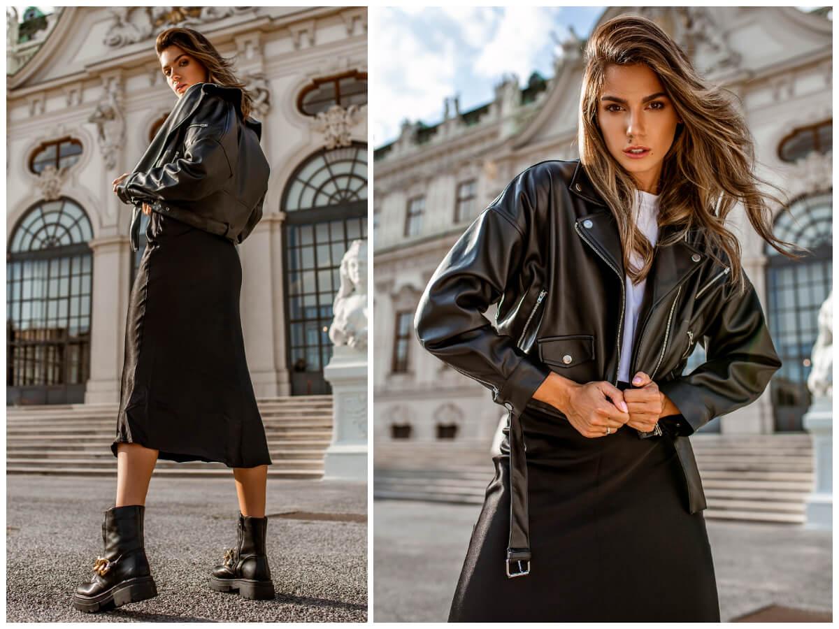 Czarne ubrania damskie w miejskiej stylizacji na co dzień